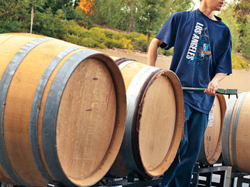 The wine is aged in French oak barrels up to 15 months. Aside from weekly quality checks, the barrels are never disturbed. This allows natural settling to occur, eliminating the need to filter the wine, which could damage its complexity.