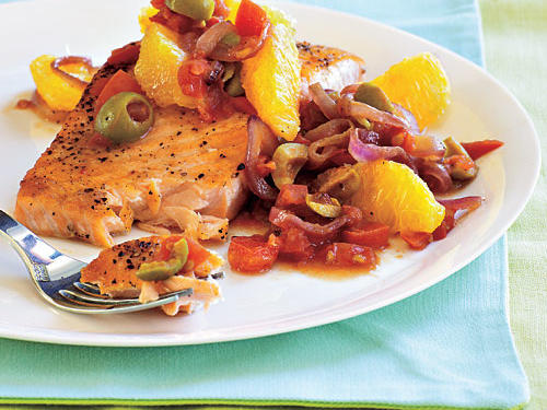 Tangy tomatoes, sweet oranges, and briny olives bring lively color and bold flavor to this simple dish.