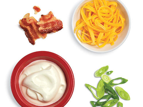 Sour Cream, Cheddar, Bacon, and Green Onion Low-Calorie Potato Toppings