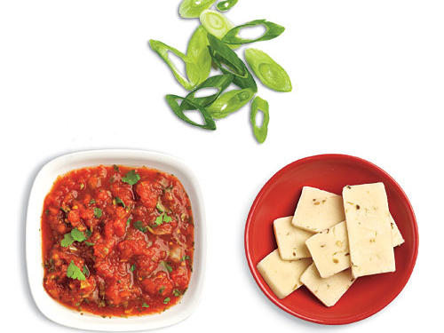 Salsa, Cheese, and Green Onion Low-Calorie Potato Toppings