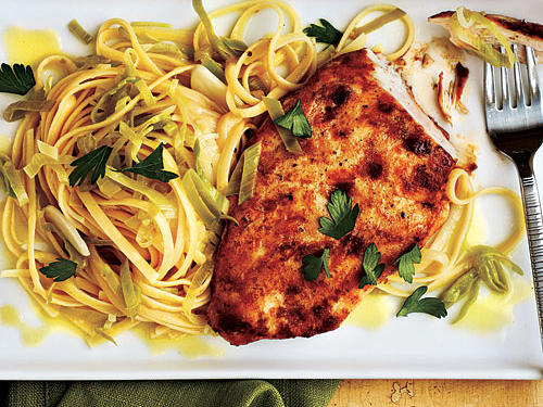 Chicken with Lemon-Leek Linguine Recipes