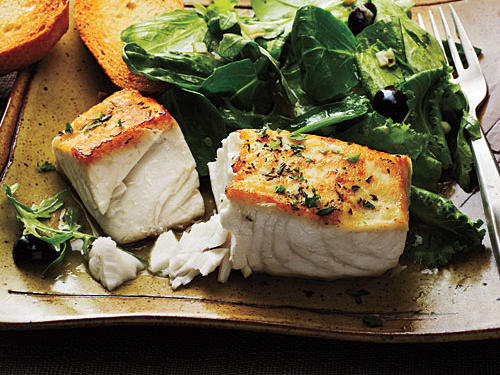 Halibut à la Provençal over Mixed Greens