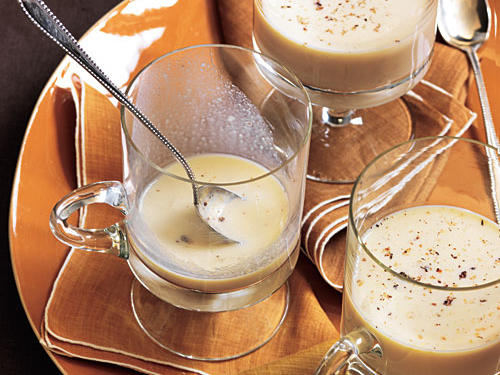 No holiday season is complete without a swig or two of this festive cocktail.  While it is a good source of both calcium and protein, eggnog is notorious for its heavy hand in cream.  A typical 6-ounce pour of the real deal can set you back nearly 435 calories and 30 grams of fat (and you haven't even eaten yet!).  Keep your calories and fat in check with our version of Eggnog at only 147 calories and 2.3 grams of fat per 1/2 cup which still includes your protein, calcium and yes, even the nog.