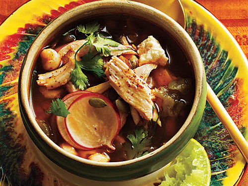 While usually an ingredient in moles, roasted pumpkinseed kernels add another layer of nutty flavor to this posole-style broth. Look for them in specialty markets and health-food stores. Substitute ancho chile powder if guajillo is unavailable.