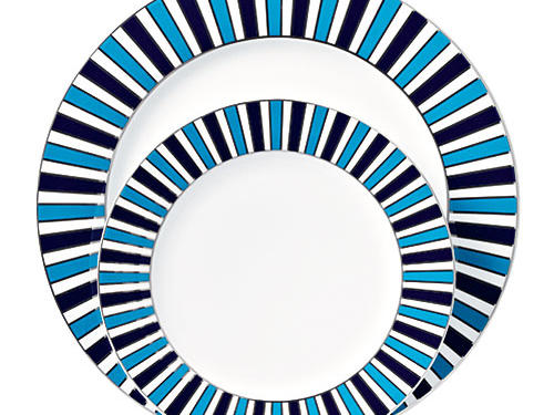 Platinum-accented porcelain from mod potter Jonathan Adler will enliven any table.Price: $50/4-piece place settingShop: Jonathan Adler