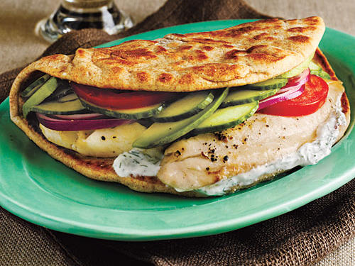 Tilapia is a excellent choice for a lighter gyro filling in comparision to heavier cuts of red meat. Vegetables and tzatziki sauce round out this take on the Greek classic.