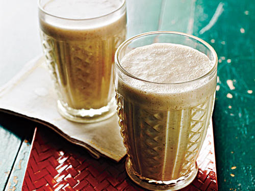Peanut butter and banana smoothies are usually a splurge item. Luckily, we have a healthy version that doesn't skimp on flavor. If the smoothies seem too thick, add another tablespoon or two of milk.