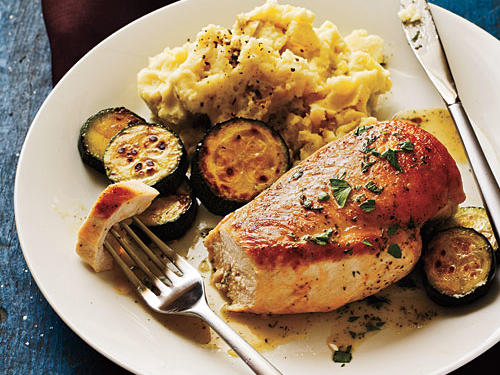 Sautéed Chicken and Zucchini with Parsley-Chervil Pan Sauce Recipes