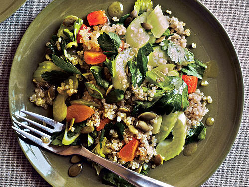 This dish is a nice change from a traditional green lettuce salad, as it is fresh and filling. Celery and toasted pumpkinseeds add crunch, while dried apricots lend a soft, sweet touch.