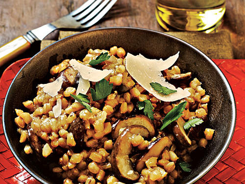 "Barley doesn't contain as much starch as rice, so this ""risotto,"" although delicious, is not quite as creamy as traditional recipes."