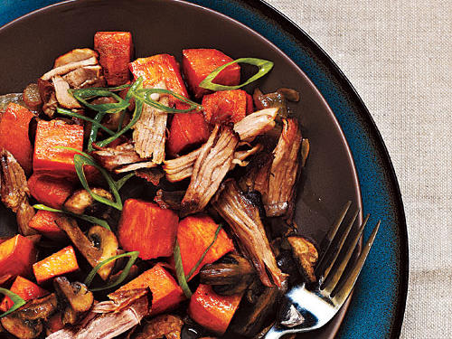 This hash is equally good as a breakfast-for-dinner. Sweet potatoes and sliced mushrooms add an interesting twist to this familiar comfort food. Although the pork takes a while to cook, the simmering is hands-off time.