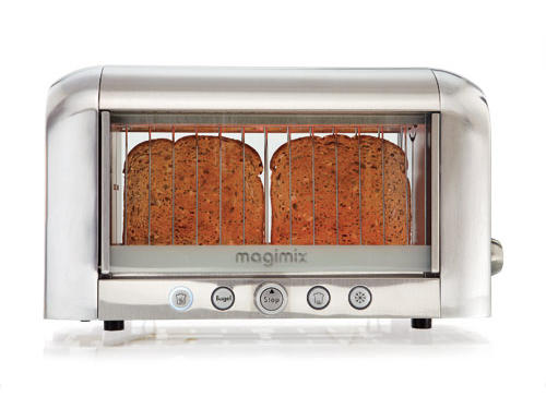 Bread has no privacy at all through the glass sides of Magimix's toaster.