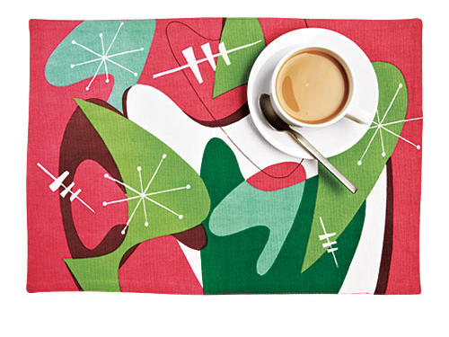 Are there any retro fabulous friends on your holiday list this year? If so, these mid-century mod placemats are the perfect gift. Offered in a variety of colors and patterns (shown here in Retro Romp) there will be a mat to match any motif.