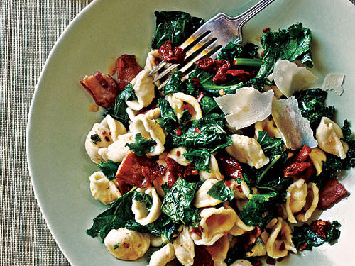 100 Pasta Recipes: Orecchiette with Kale, Bacon, and Sun-Dried Tomatoes