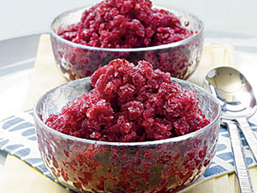 Sweet cherries and robust merlot make for a colorful, refreshing chilled dessert. Because the granita requires at least 8 hours to freeze, add this to your list of smart entertaining recipes. Or have it on hand for a low-calorie mid-week dessert.