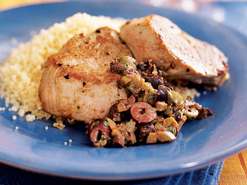 Low-Cal Pork Tenderloin with Olive-Mustard Tapenade