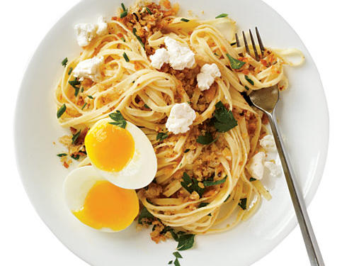 A soft-cooked egg coats the pasta and adds rich flavor to this rustic dish. The key to success with the eggs is to plunge them quickly into ice water to stop the cooking.