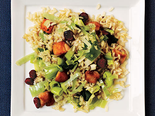 Best Chicken Fried Rice with Leeks and Dried Cranberries Recipe