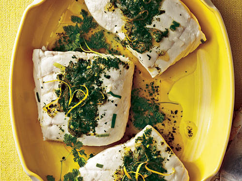 Poached Halibut with Lemon-Herb Sauce