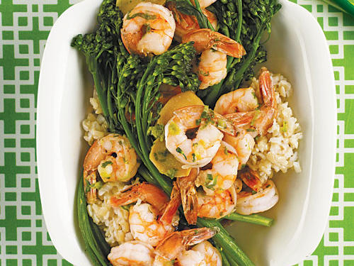 Shrimp Sautéed with Broccolini Recipe