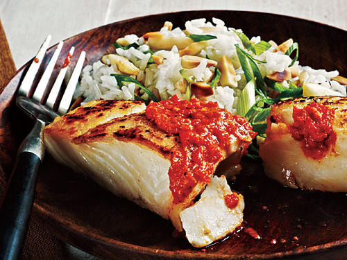 Sautéed Halibut with Romesco Sauce Recipe