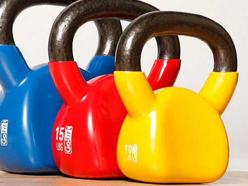 6. Bob Harper's Contour Kettlebells ($24.99-$99.99, depending on weight; gofit.net)Why we like them: Exercising with a kettlebell may be the latest fitness trend, but most are shaped like a mini-bowling ball with a handle attached to them, making them more uncomfortable on your wrists and forearms during certain moves. This kettlebell is ergonomically-designed with grooves that let the weight comfortably rest on your arms as you exercise. We also like the DVD workout that guides even the exercise novice through an easy-to-follow, full-body 30-minute routine.