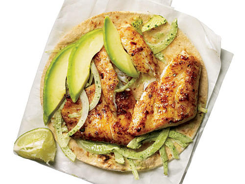Every cook needs a fish taco in her repertoire; it's one of the world's finest fast foods. We ditched the fried fish commonly used by those irresistible food trucks and loaded on onion relish to make up some crunch. Shrimp would be a good sub for fish.