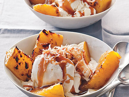 Broiled Pineapple with Bourbon Caramel Over Vanilla Ice Cream Recipe