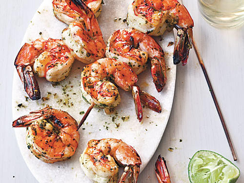 Broiled Herb-Marinated Shrimp Skewers