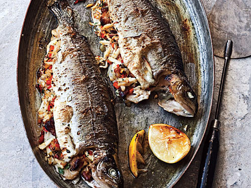 Sweet crabmeat fills these whole trout and helps keep the fillets moist under high broiler heat.