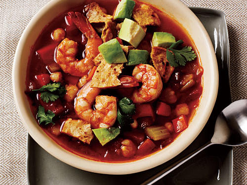 Spicy Tortilla Soup with Shrimp and Avocado Recipe