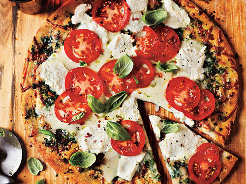 White Pizza with Tomato and Basil Recipe