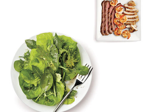 A salad in a supporting role is always a safe choice, but what about when you want a plate of greens to take center stage? To that we say, double the greens and dressing, pick your favorite 100-Calorie Salad Booster, then add extra protein (see bulleted list below) for a super salad supper that clocks in under 400 calories.Flank steak (3 ounces broiled): 375 caloriesChicken breast (3 ounces roasted): 360 caloriesShrimp (¼ pound grilled): 345 calories