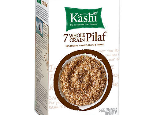 A mixture of whole oats, brown rice, rye, hard red wheat, triticale, buckwheat, barley, and sesame seeds, Kashi 7 Whole Grain Pilaf can wear many hats. Use it as a hot cereal, a side dish pilaf, a soup ingredient, or a main-dish grain meal. In other words, it's a blank canvas that lets you incorporate more whole grains at mealtime. One half cup cooked delivers: 170 calories, 2.5g fat (0 sat fat), 6 g protein, 6 grams of fiber, and zero sodium.