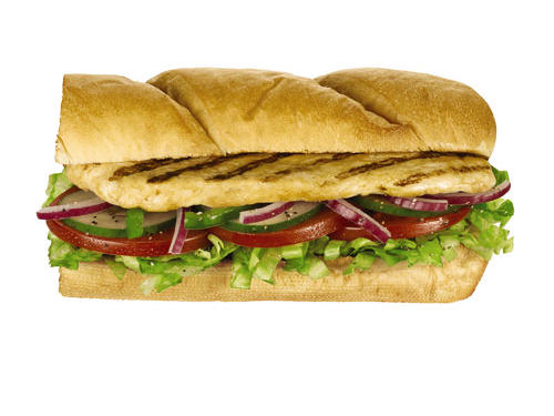 "Ask for 9-grain wheat bread, deli mustard, lettuce, tomatoes, onions, and green peppers and your tab for a Subway 6-inch Oven Roasted Chicken Sandwich is just 330 calories, 5 grams fat (1.5g sat) and 760mg sodium. Added plus: you're getting 5 grams of fiber. When choosing a sandwich, don't be fooled by the ""fresh"" moniker at various restaurants, this may be nothing more than an oversized deli sandwich with more fat and calories than a double bacon cheeseburger."