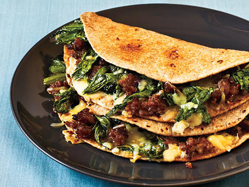 Mix things up from the traditional steak or chicken quesadilla recipe with this yummy sausage-based dish. At only 441 calories per serving, it's a Mexican dish you can enjoy without hesitation.
