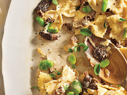 Farfalle with Fava Beans, Morel Mushrooms, and Mascarpone