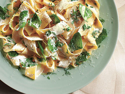 The trick to this pappardelle recipe is in the timing. Have all the ingredients prepped and ready to go before beginning to cook—the pasta needs to be hot when mixed with the other ingredients to create a creamy consistency.