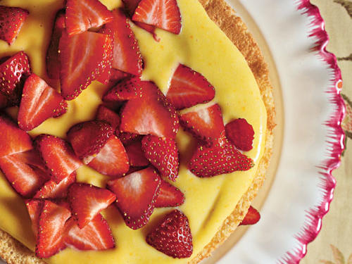 Sponge Cake with Orange Curd and Strawberries Easter Dessert Recipe