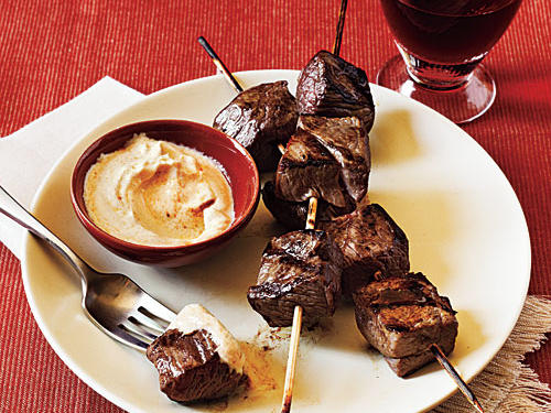 Yogurt works double duty as marinade and dipping sauce in this easy dish.