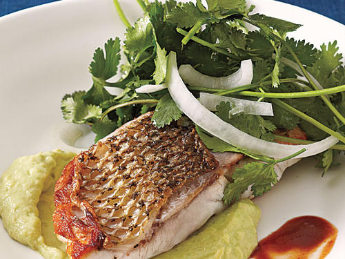 """The crisped skin and meaty texture of striped bass are fantastic,"" said Adam Hickman, Recipe Tester and Developer."