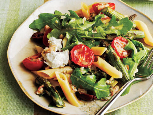 Roasted Asparagus and Tomato Penne Salad with Goat Cheese