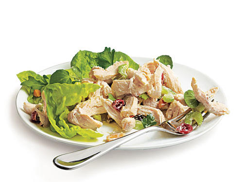 Make this chicken salad to have on hand for a quick and delicious dinner. Most chicken salad recipes pack the fat and calories, but our Creamy Chicken Salad requires poaching the chicken, which keeps it moist and succulent, so you'll need less dressing to bind the salad.