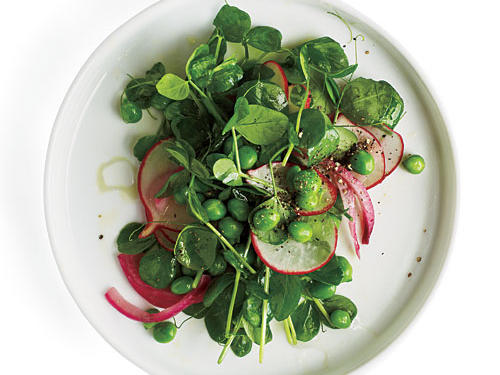 Pea Shoot Salad with Radishes and Pickled Onion Recipe