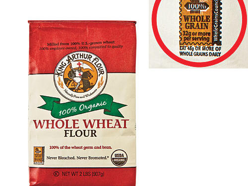 "Indicates at least 8g whole grains per serving. ""100%"" designation denotes 16g or more, and that all grains are whole. (Your daily goal: 48g.) Not all manufacturers use this stamp, however."