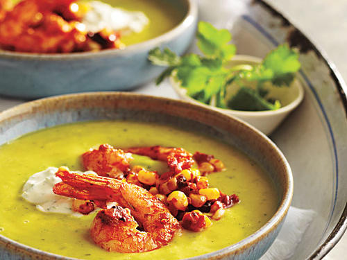 A delicious combination of tastes and textures, this first course soup combines smoky chile heat, crisp sweet corn, and silky-rich avocado.