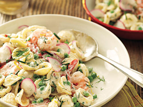 100 Pasta Recipes: Orecchiette with Peas, Shrimp, and Buttermilk-Herb Dressing