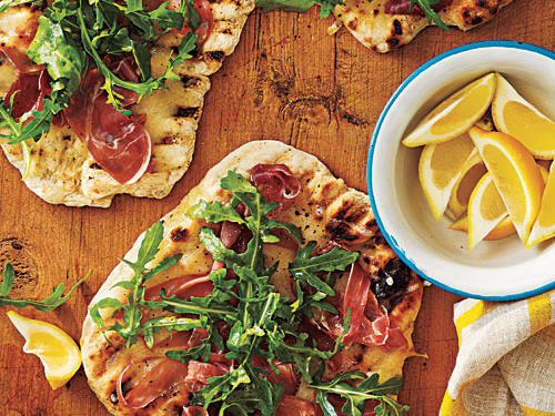 Grilled Pizza with Prosciutto, Arugula, and Lemon