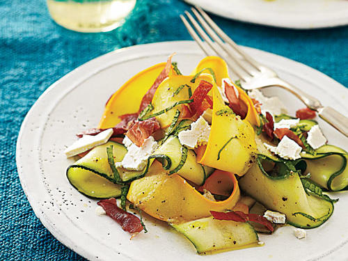 Summer squash is delicious raw when it's shaved and marinated with a bit of salt. Add salty prosciutto and you have the perfect side dish.