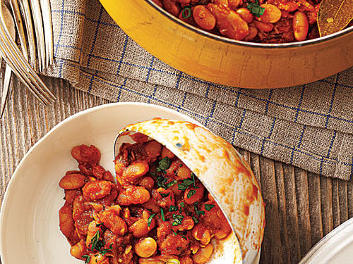These savory baked beans are simply divine. Be sure to use firm, dry-cured Spanish chorizo and not soft, raw Mexican chorizo for this recipe.